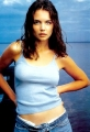 Katie Holmes posing in sexy blue shimmy