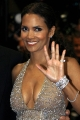 Halle Berry in sexy golden dress with plunging necklace