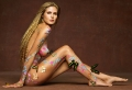Heidi Klum all painted with flowers and butterflies