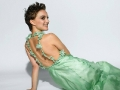 Natalie Portman posing in green magnificent dress